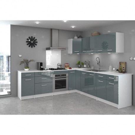 start meuble de cuisine haut d angle l 58 cm gris brillant