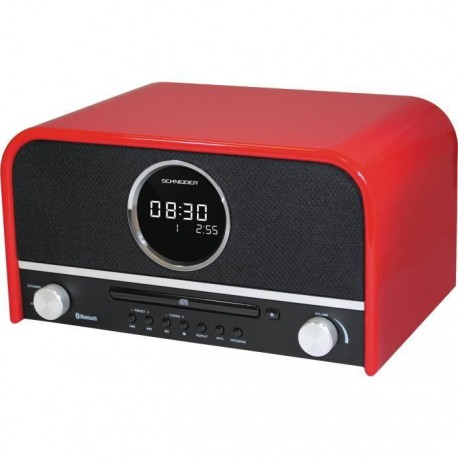 schneider sc700mccd micro chaine cd mp3 bluetooth rouge