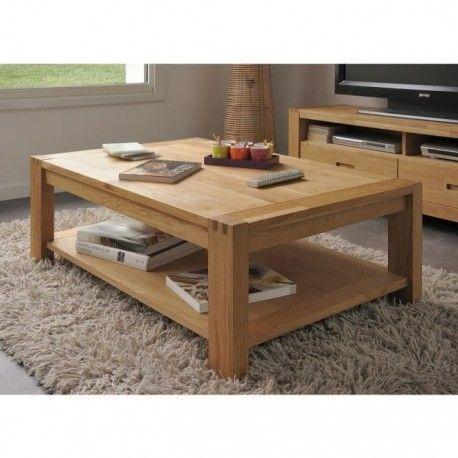 ethan table basse style contemporain bois chene massif et placage chene huile dore l