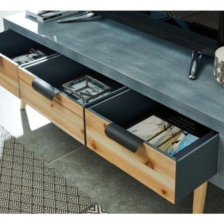 chuck meuble tv industriel effet beton et placage pin l 110 cm