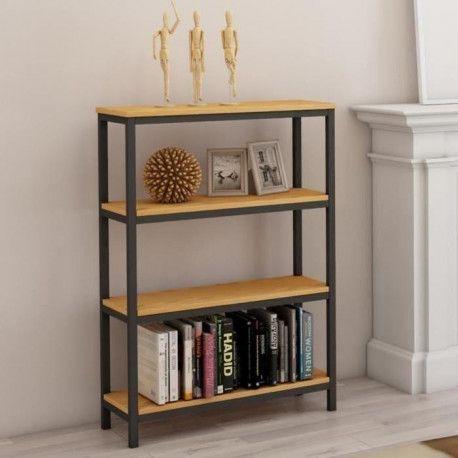 leon etagere meuble style industriel en metal epoxy noir plateau placage bois chene