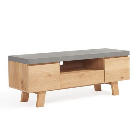fjord meuble tv 130 cm plaque chene et decor effet beton
