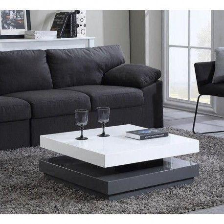 vegas table basse transformable 75x75cm laque blanc et gris brillant