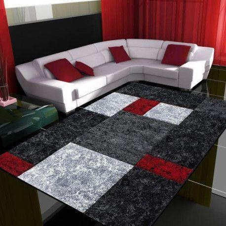 tapis de salon lima rouge gris et noir 120x170 cm