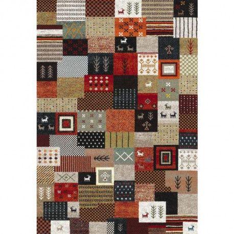 ethno tapis de salon 120x170 cm rouge noir et gris