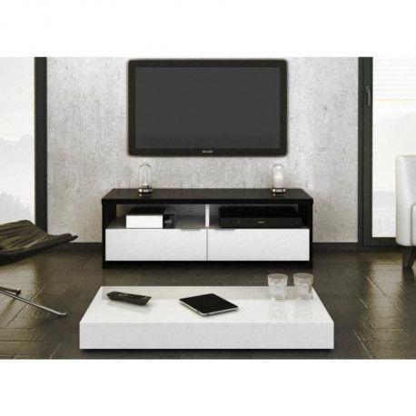 banco meuble tv contemporain noir et blanc brillant l 110 cm