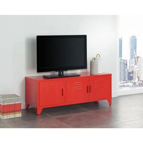 camden meuble tv industriel en metal rouge laque l 120 cm