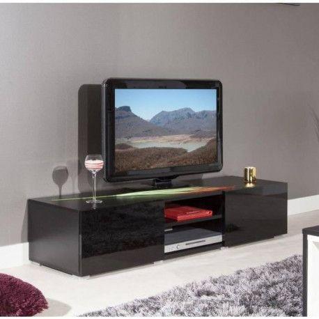 lime meuble tv contemporain noir laque l 140 cm