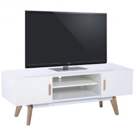 nordik meuble tv scandinave blanc laque avec cadre metal blanc et pieds bois chene