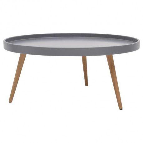 nordic table basse ronde scandinave laquee gris pieds en bois hetre massif o 80 cm