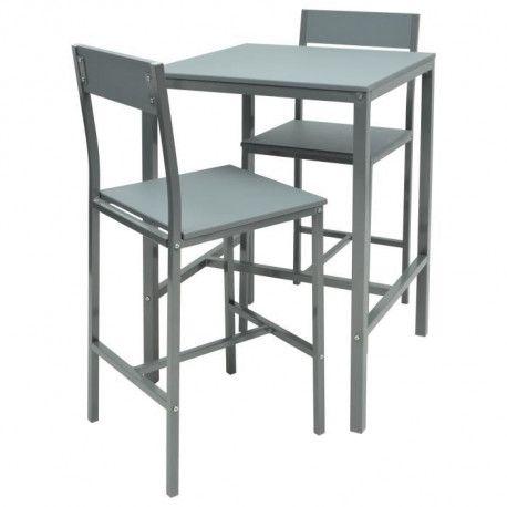 manira ensemble table bar de 2 personnes 2 chaises style contemporain gris laque