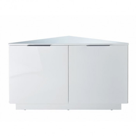 swan meuble tv d angle contemporain laque blanc brillant l 102 cm