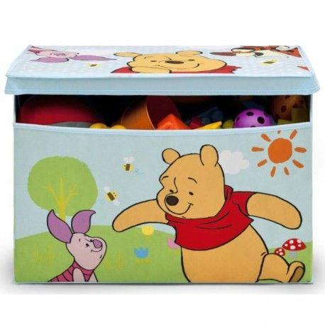 winnie l ourson coffre a jouets enfant en tissu bleu et multicolore