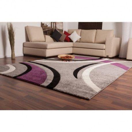 havanna tapis de salon 160x230 cm violet gris et noir