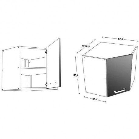 start meuble de cuisine haut d angle l 58 cm noir brillant