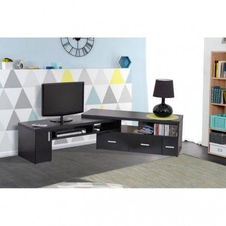 slide meuble tv extensible noir
