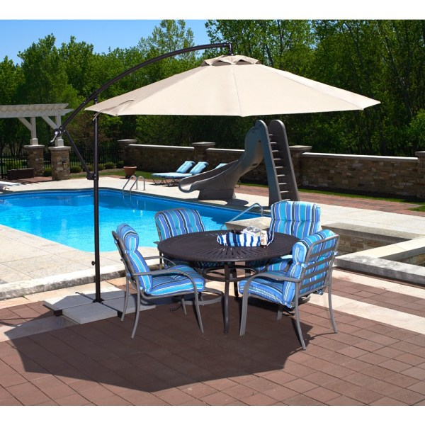 Patio Umbrellas   Royal Swimming Pools Santiago Cantilever Umbrella  10  Octagon    Champagne Linen Olefin