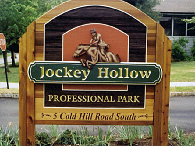 Carved Sign for Jockey Hollow Professional Park