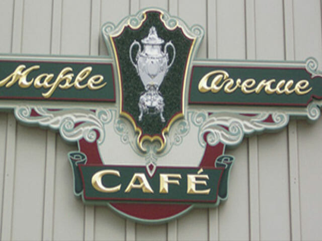 Carved Sign for Maple Avenue Cafe