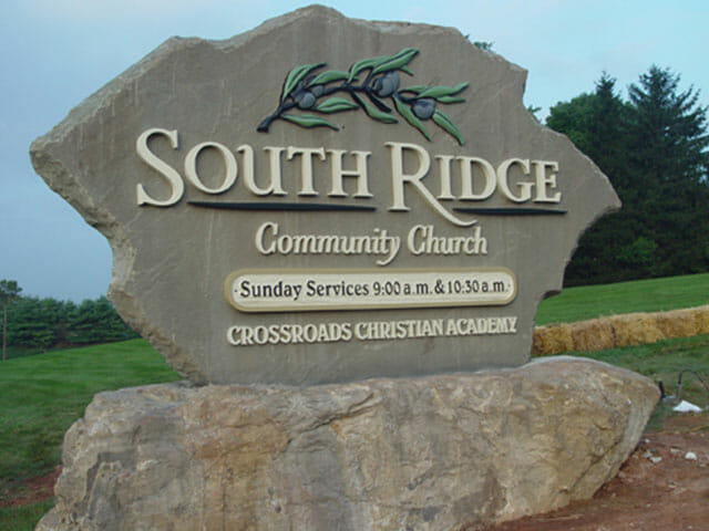Carved Sign for South Ridge Community Church