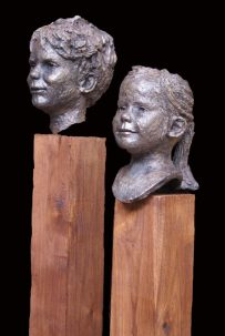portret kinderen brons