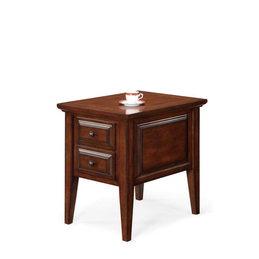 oak wooden living room end tables with storage for small ...