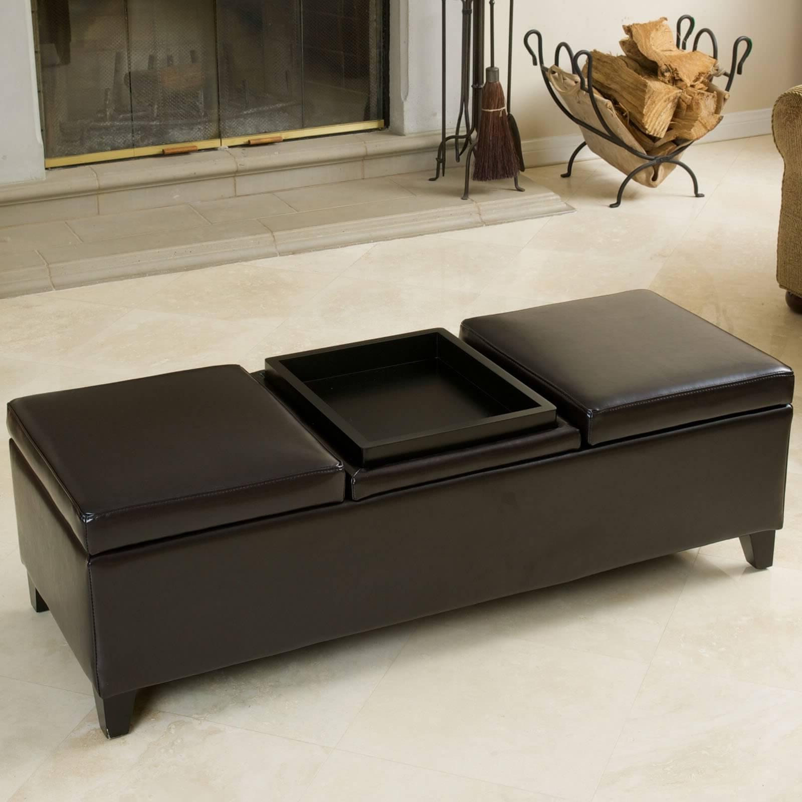 Dark Brown Leather Ottoman Coffee Table