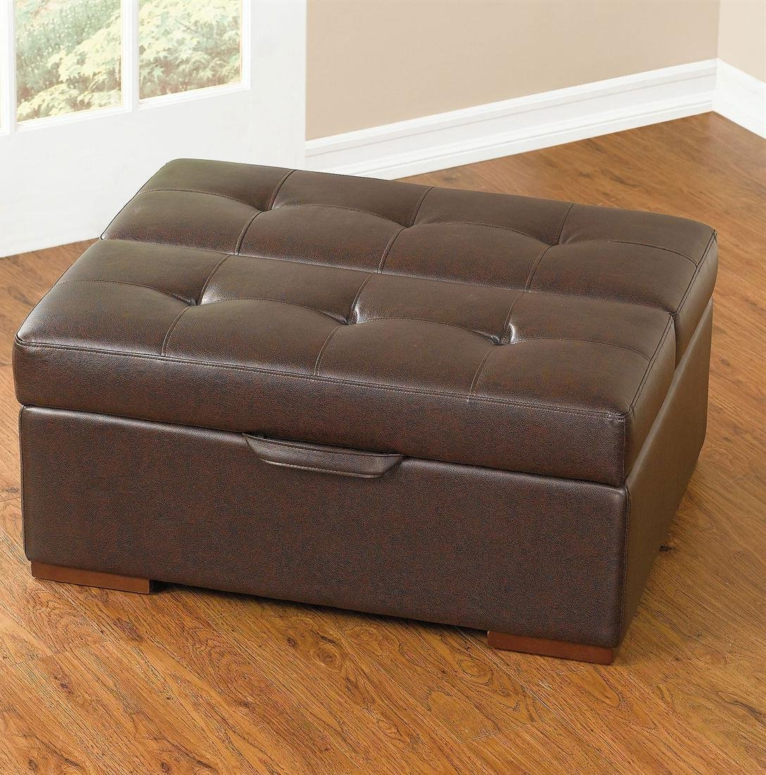 Square Leather Storage Ottoman Coffee Table