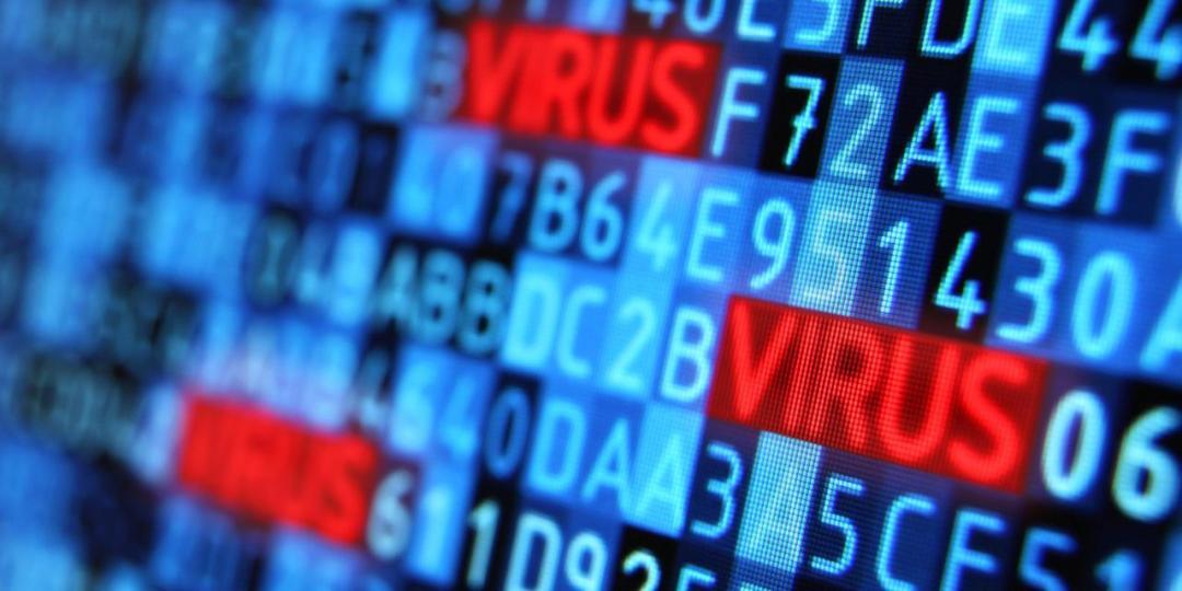 Virus hiding into programming code on computer monitor