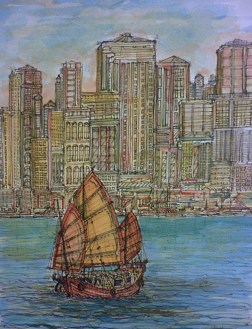 Hong Kong Cityscape from the Sea with Chinese Junk Boat.