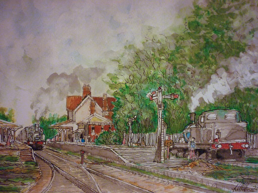 Steam Train Sheringham, Norfolk, watercolour.
