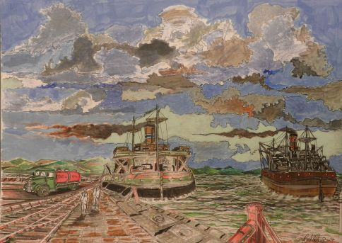 steamboat, shell oil, docks, expressionist,