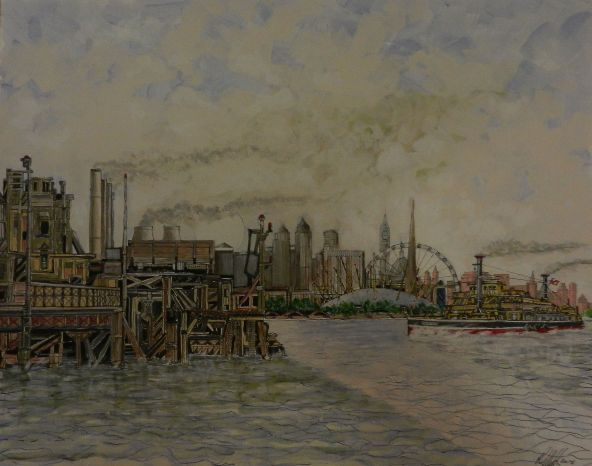 the thames, london river, london, painting, barge,cityscape