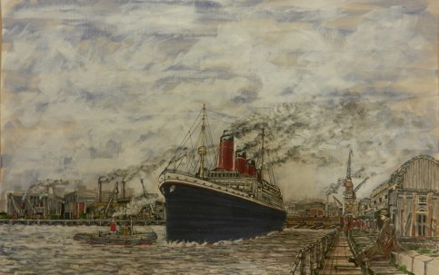 Titanic at Southampton Docks. Acrylic., painting expressionist, steam ship, tug boat,