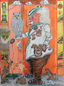 Owl, cats, mice, dog, old man, Mixed media, painting,