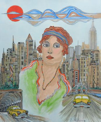 New York with Girl. Mixed media. new york taxi, yellow cab, 1930, 1960, painting,