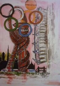 Olympic Village. Mixed media.