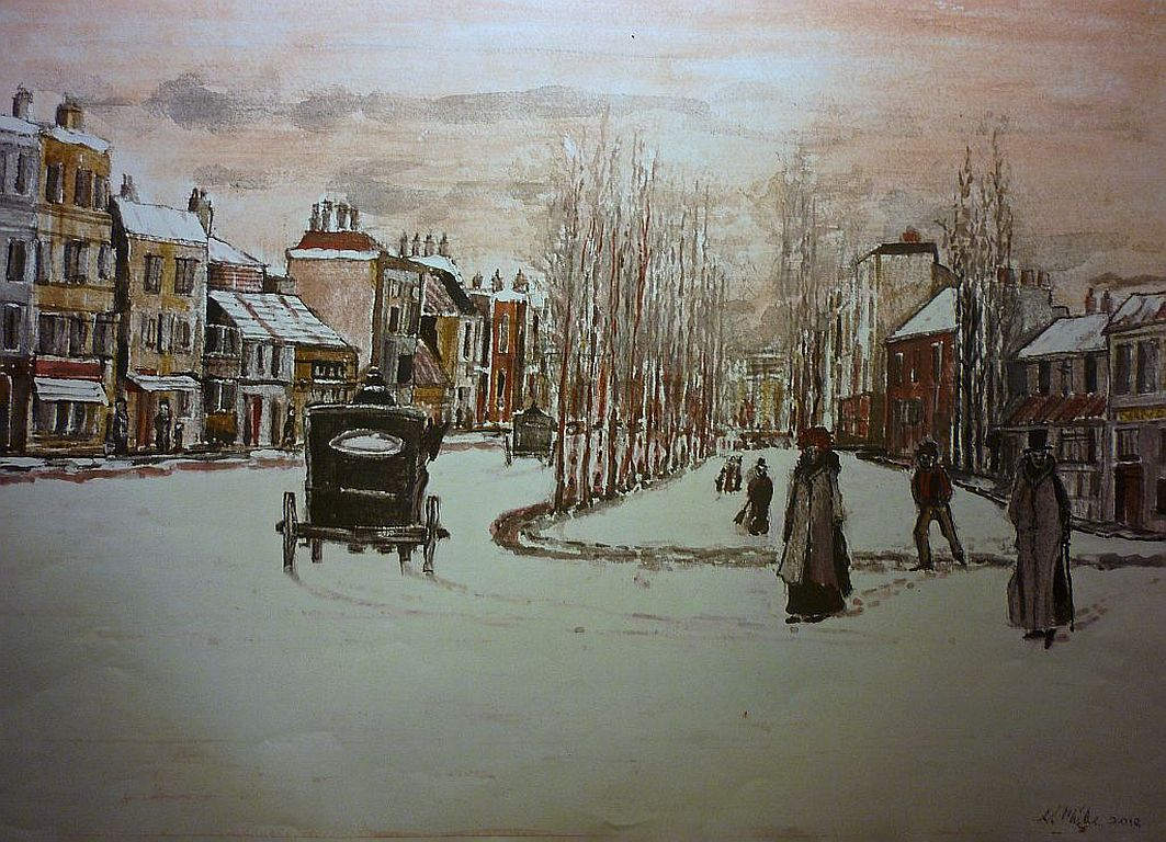Snow, Town, edwardian, painting, Mixed media, london,