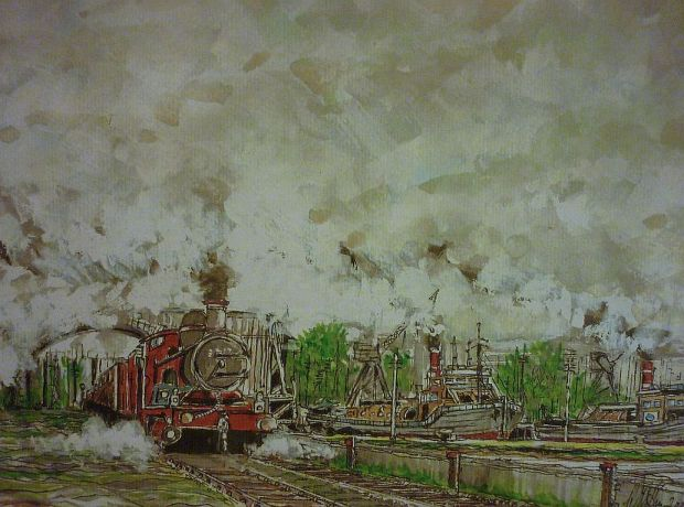 Steam Train and Barge. Watercolour.