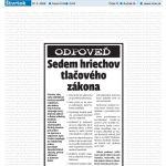 Titulní strana deníku SME 27. 3. 2008