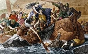 Artystyczne wyobrażenie łupieżczej wyprawy Wikingów w IX wieku