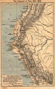Mapa podboju Peru w latach 1531-1533