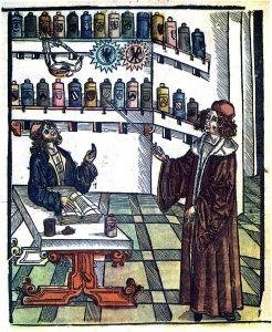 """Doktor i aptekarz"", ilustracja z ""Medicinariusa"" Hieronymusa Brunschwiga."