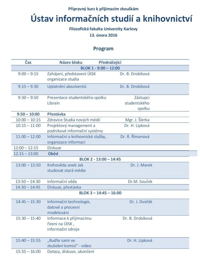 Podrobný program přípravného kurzu