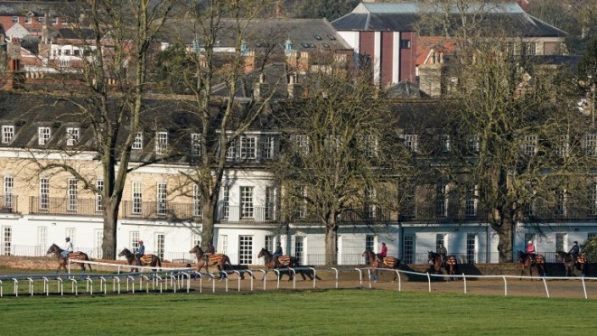 Horses making their way to the Warren Hill gallops in Newmarket before the lockdown was announced