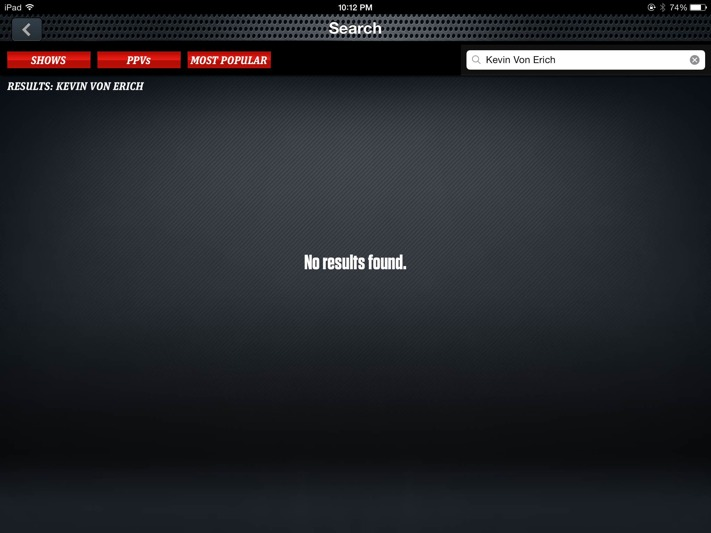 WWE Network search