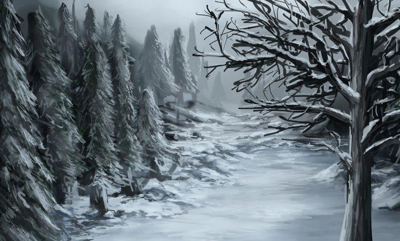 Imagem do podcast TESTE 4 do RPG Next - Trilha cheia de neve entre árvores da floresta