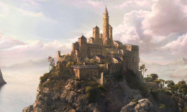 Imagem dos contos narrados com um castelo em uma montanha