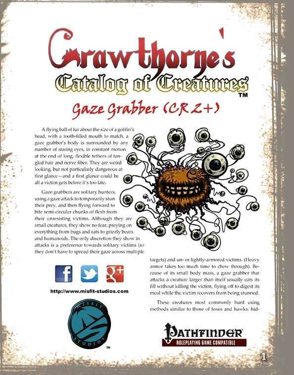 Crawthorne's Catalog of Creatures: Gaze Grabber for the Pathfinder RPG