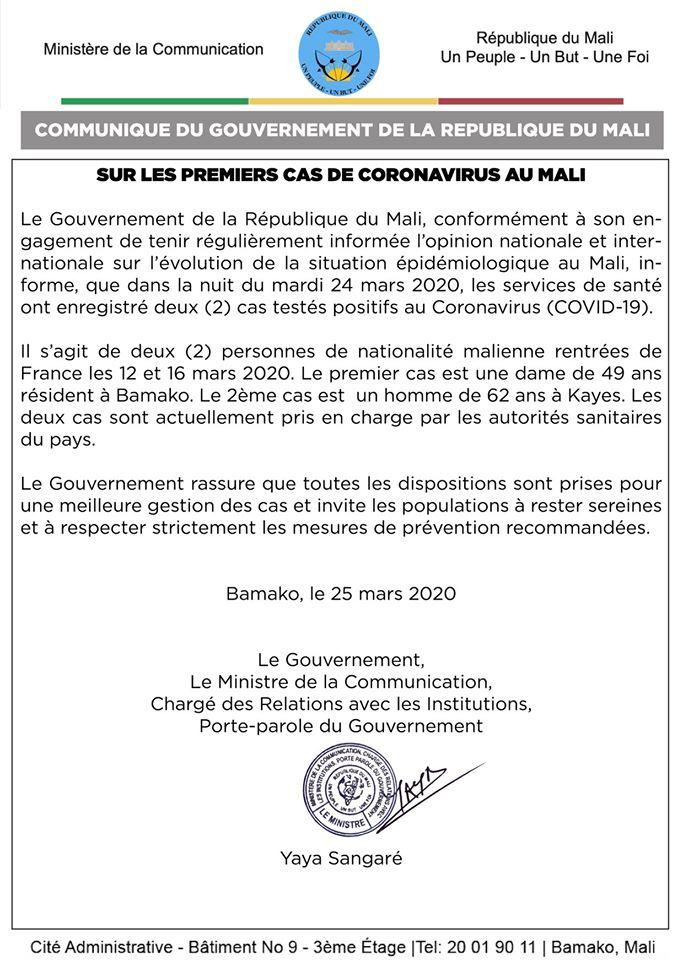 Communiqué du gouvernement du Mali annonçant les deux premiers cas de coronavirus au Mali